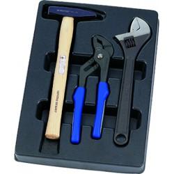 Termoformado de alicate multitoma, llave ajustable y martillo - 3 piezas