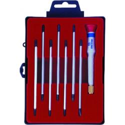 Caja de destornilladores de precisión con varillas reversibles - 8 piezas