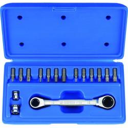 Caja de llave de estrella con carraca métrica con juego de puntas - 16 piezas