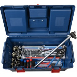 Caja completa de plástico con herramientas en pulgadas - 28 piezas