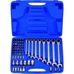 Caja de llaves combinadas con carraca métricas con juego de vasos TORX® - 62 piezas