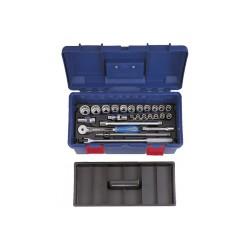 """Caja de herramientas de vasos métricos y accesorios 1/2"""" - 25 piezas"""
