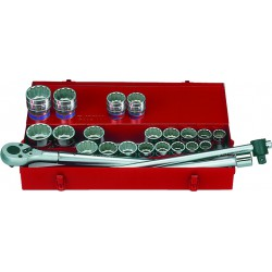 """Caja de vasos 3/4"""" métricos y en pulgadas con accesorios - 24 piezas"""
